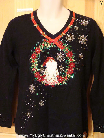 Santa in Poinsettia Wreath Cheap Christmas Sweater