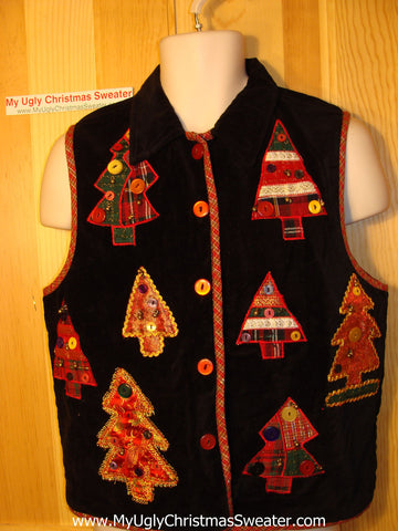 Tacky Ugly Christmas Sweater Party Vest with Crafty Trees (f166)