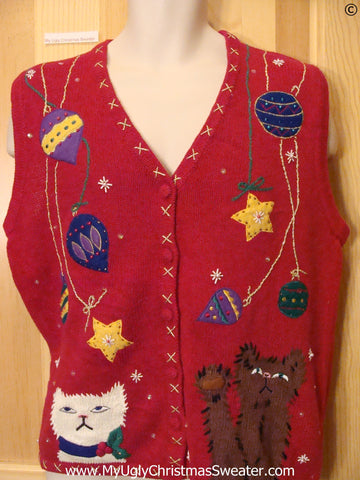 Cat and Ornament Cheap Christmas Sweater Vest