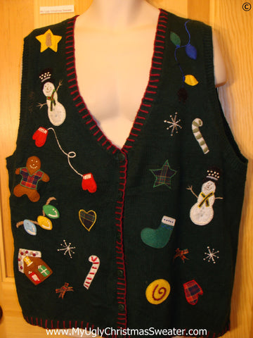 Crazy Black Crafty Cheap Christmas Sweater Vest