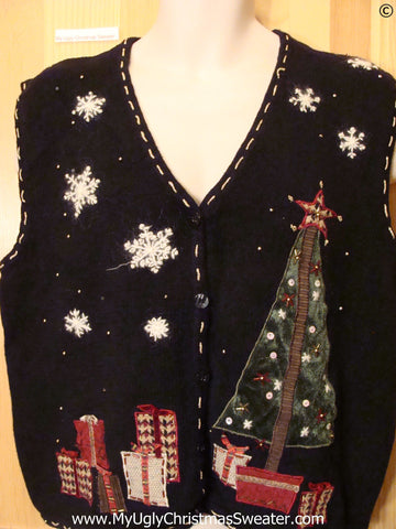 Toppling Tree Black Cheap Christmas Sweater Vest