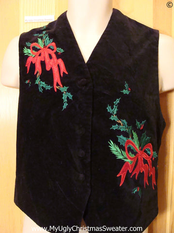 Cheap Velvety Christmas Vest Red Bows