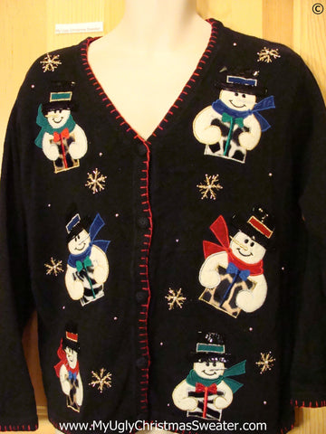 Snowmen with Animal Print Gifts Cheap Christmas Sweater