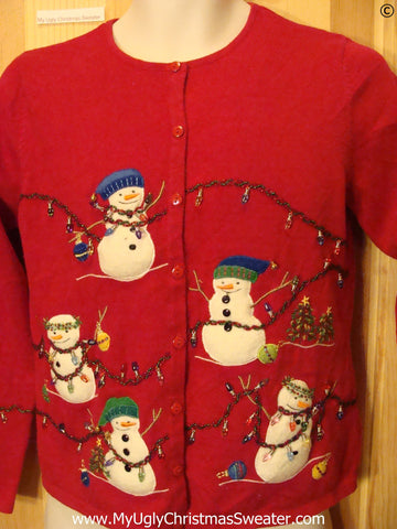 Tangled Snowmen Red Cheap Christmas Sweater
