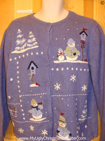 Blue Two Sided Snowman Themed Cheap Christmas Sweater