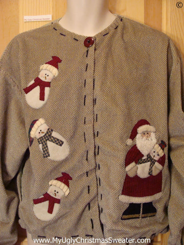 Brown 2sided Cheap Christmas Sweater with huge Santa