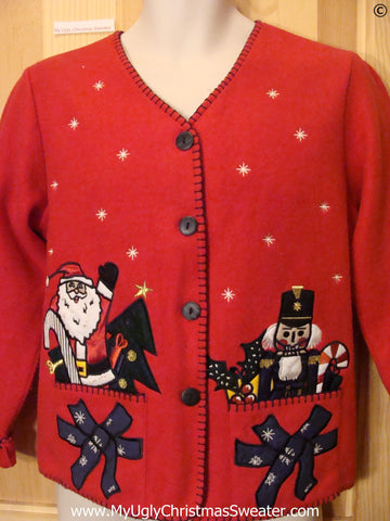 Red Cheap Christmas Sweater Santa and Nutcracker