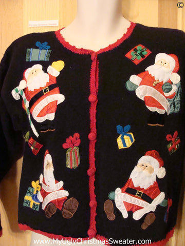 80s Santa Cardigan Black Cheap Christmas Sweater