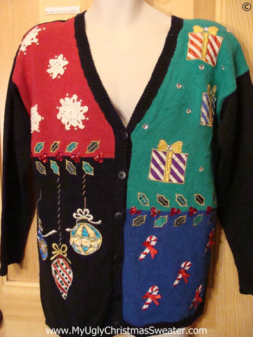80s Cardigan Best Christmas Sweater Padded Shoulders