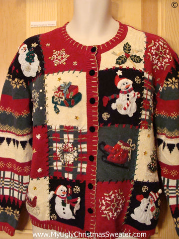 Horrible Patterned Red Cheap Christmas Sweater Cardigan