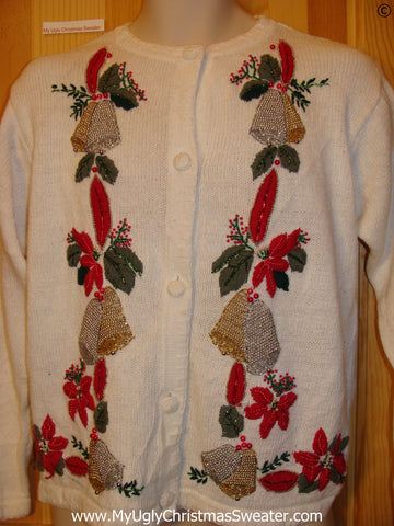 Ivory Cardigan Cheap Christmas Sweater with Serious Bling