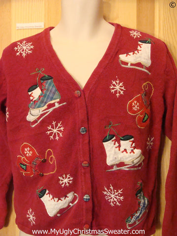 Ice Skate Themed Red Cheap Christmas Sweater