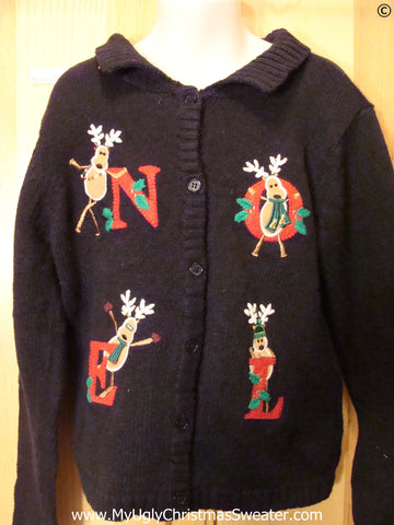Child Cheap Christmas Sweater with Reindeer NOEL