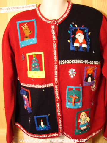 Tacky Ugly Christmas Sweater 80s Padded Shoulders (f16)