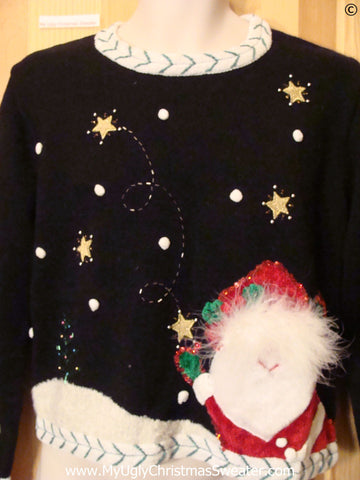 Furry Santa Black Tacky Christmas Sweater
