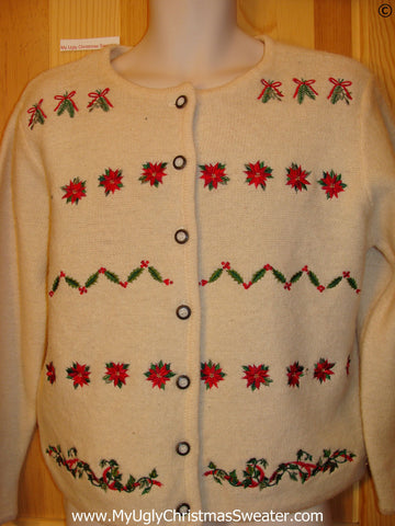 Ivy and Poinsettias Tacky Christmas Sweater