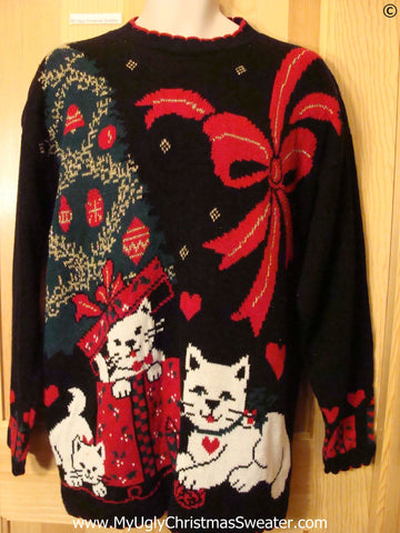 80s Cat and Bow Themed Tacky Christmas Sweater