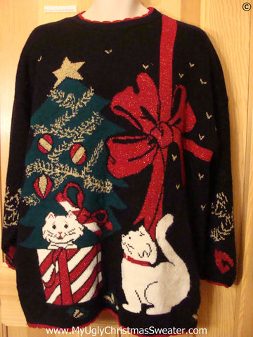 Black Tacky 80s White Cats Christmas Sweater
