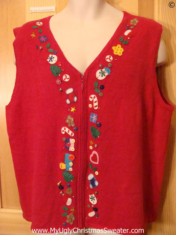 Tacky Red Christmas Sweater Vest w- Toys Candycanes