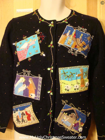 Nativity Jesus Religous Bling Christmas Sweater