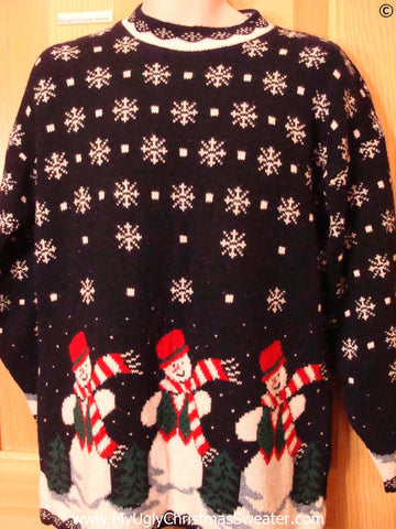 80s Triplet Snowmen 2sided Tacky Christmas Sweater