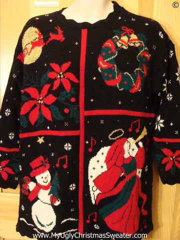 Tacky 80s 2sided Angel Poinsettia Christmas Sweater