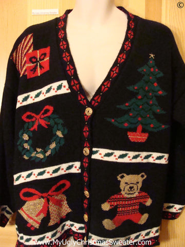Tacky 80s Cardigan Christmas Sweater Bear Tree