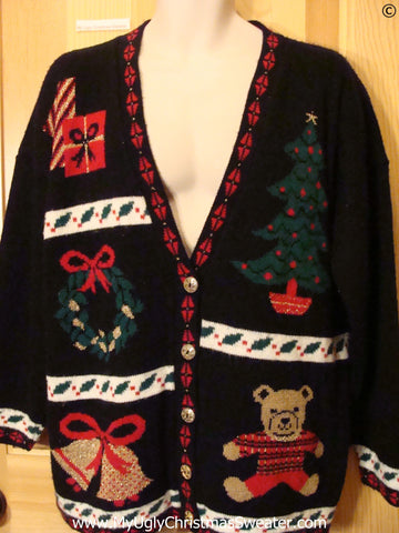 Black Acrylic 80s Cardigan Christmas Sweater