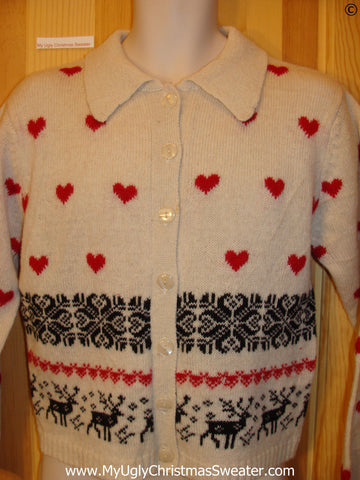 Vintage 80s Style Reindeer Tacky Christmas Sweater