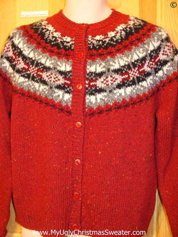 Red Nordic Style Tacky Christmas Sweater