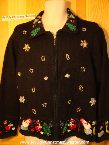 Tacky Ugly Christmas Sweater with Festive Trees, Snowmen, and Gifts (f171)