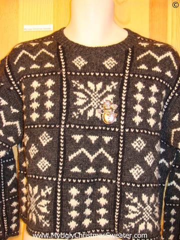 Two Sided Grey Ski Tacky Christmas Sweater