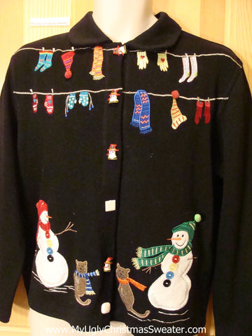 Snowman Cats Laundry Tacky ugly xmas Sweater