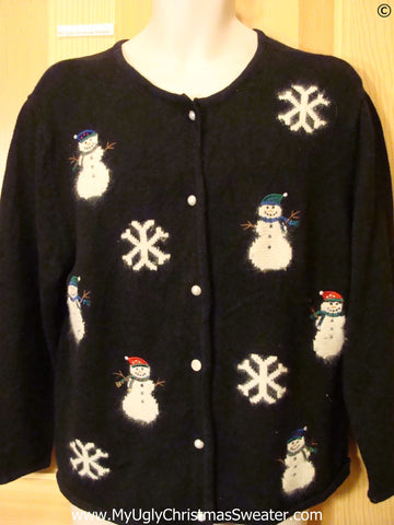 Furry Snowmen Snowflakes Tacky ugly xmas Sweater