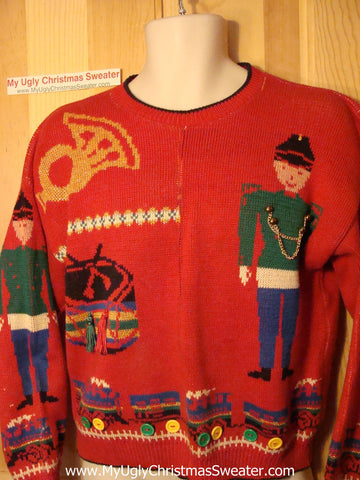 Tacky Ugly Christmas Sweater 'Holy Grail of Ugly' 80s Gem with Nutcrackers and Toys (f172)