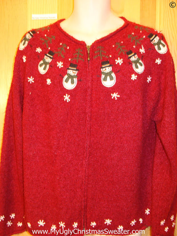 Tacky Red 2sided Snowmen Christmas Sweater