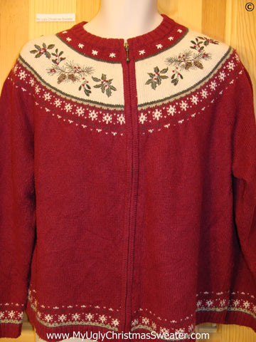 Cheap 2sided Nordic Red Christmas Sweater