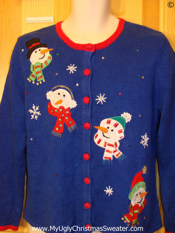 Bright Blue Snowman Tacky Christmas Sweater