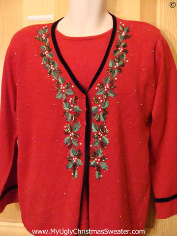80s Red Tacky Christmas Sweater Set