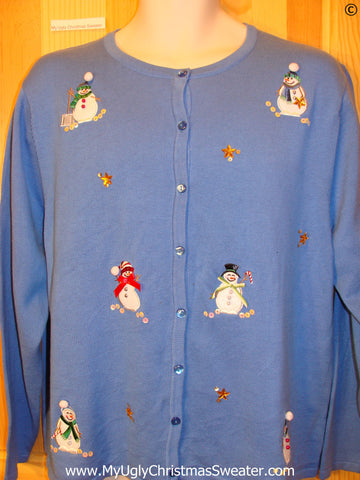 Cheap Blue Snowman Tacky ugly xmas Sweater