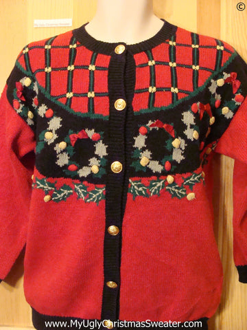 Red, Green, Black Nordic Christmas Sweater