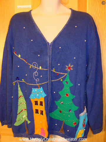 Blue 80s Tacky Christmas Sweater Warped Houses