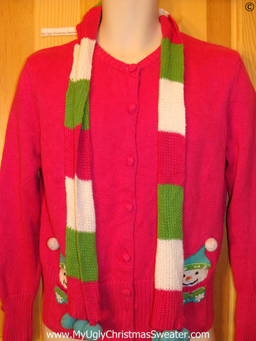Tacky Pink Christmas Sweater with Scarf