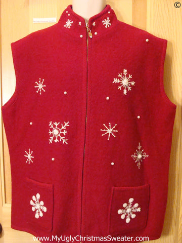 Tacky Red Christmas Sweater Vest Wm Mens XXL