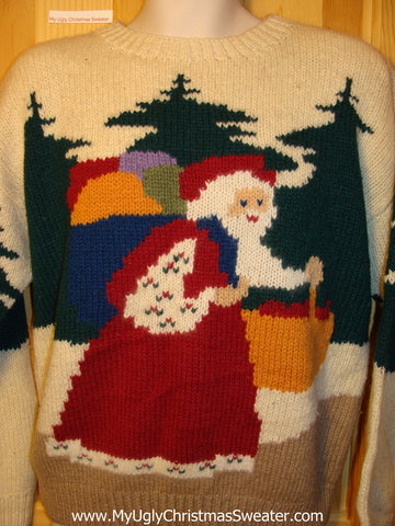 Tacky Ugly Christmas Sweater Two-Sided Santa 80s Vintage Masterpiece (f174)