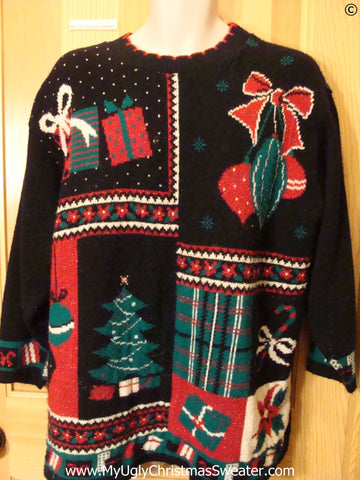 Tacky 80s Christmas Sweater with Gifts Bow and Tree