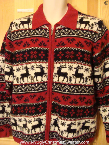 Vintage Style Reindder 2sided Christmas Sweater