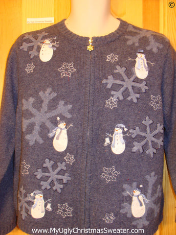 2sided Blue Christmas Sweater with Snowmen