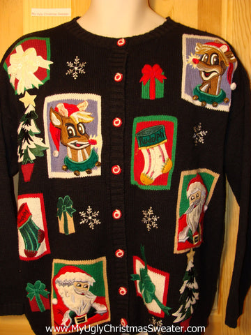 Tacky Ugly Christmas Sweater with Santa and Reindeer (f175)