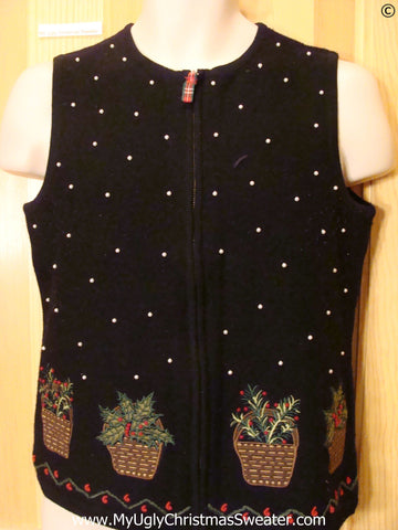 Cheap Black Tacky Christmas Sweater Vest